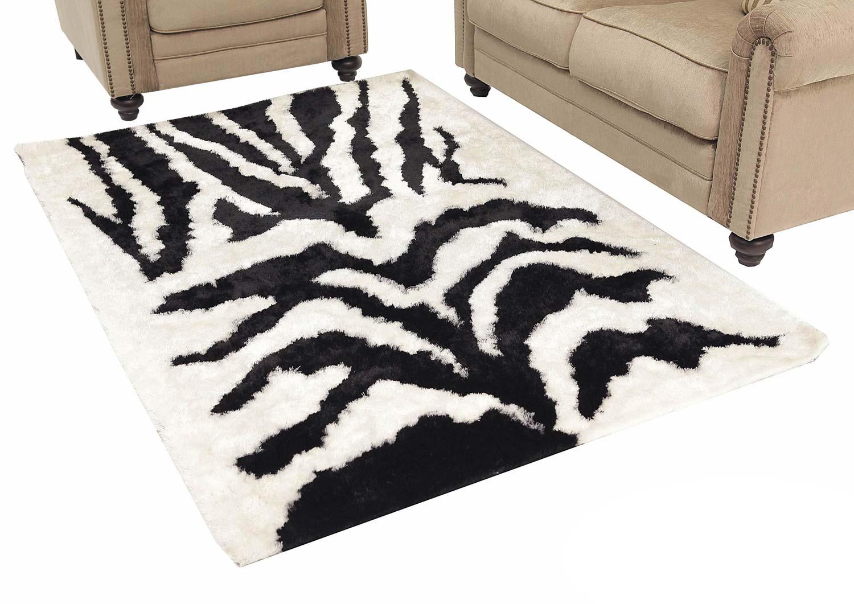 Abbyson Living AR-YS-TG001 Shag Rug 6 x 9-Feet - Black and White