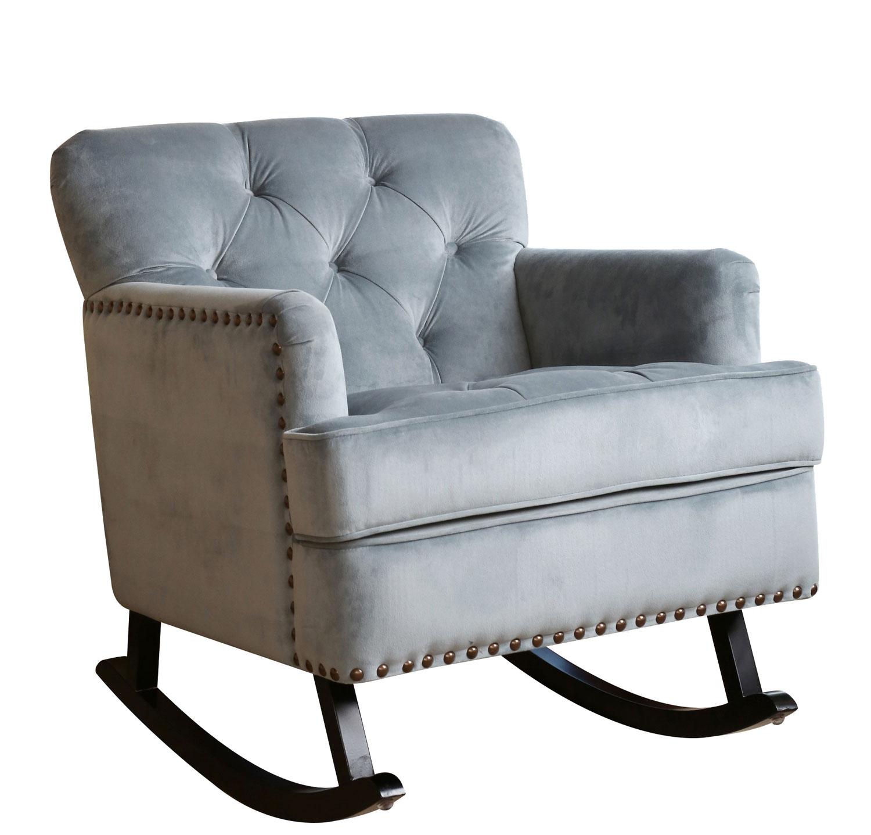 Abbyson Living Bluestone Velvet Nailhead Trim Rocker Chair - Sky Blue