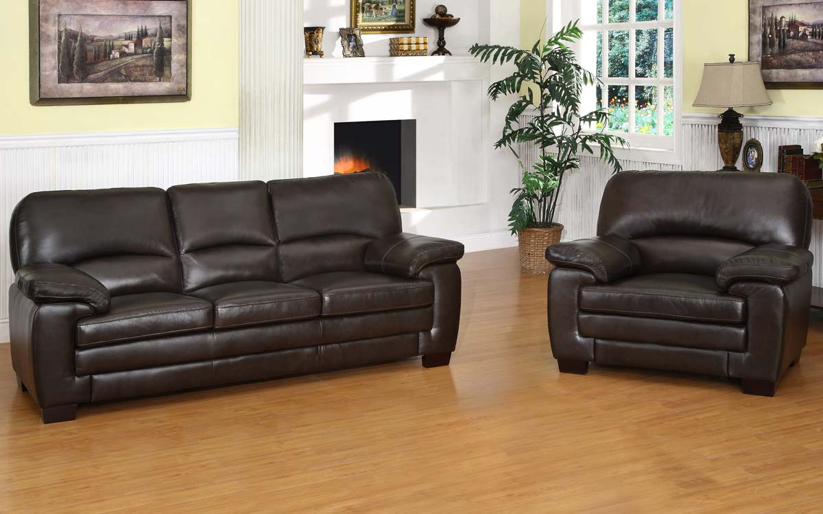 Purchase Abbyson Living CH BRN Charleston Italian Leather Sofa ArmchairSet Product Photo
