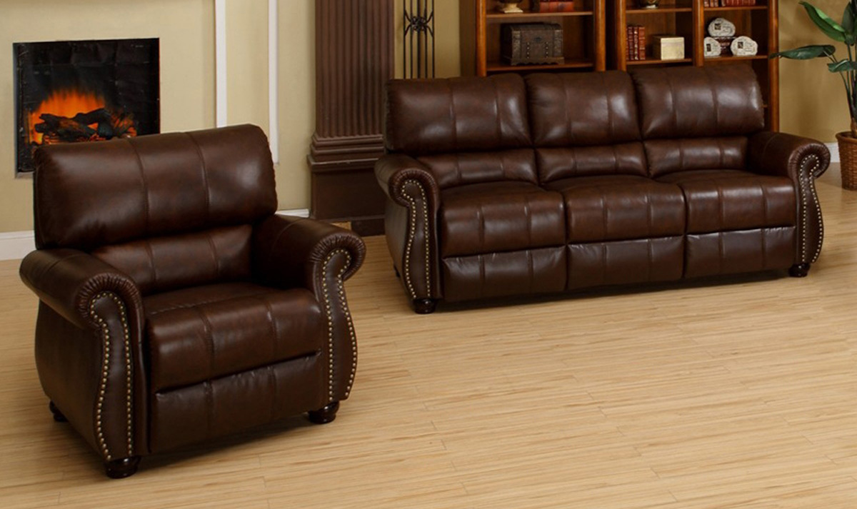 Abbyson Living Ashley Italian Leather 2-Piece Sofa and Armchair Set CH-1955-BRG-3/1