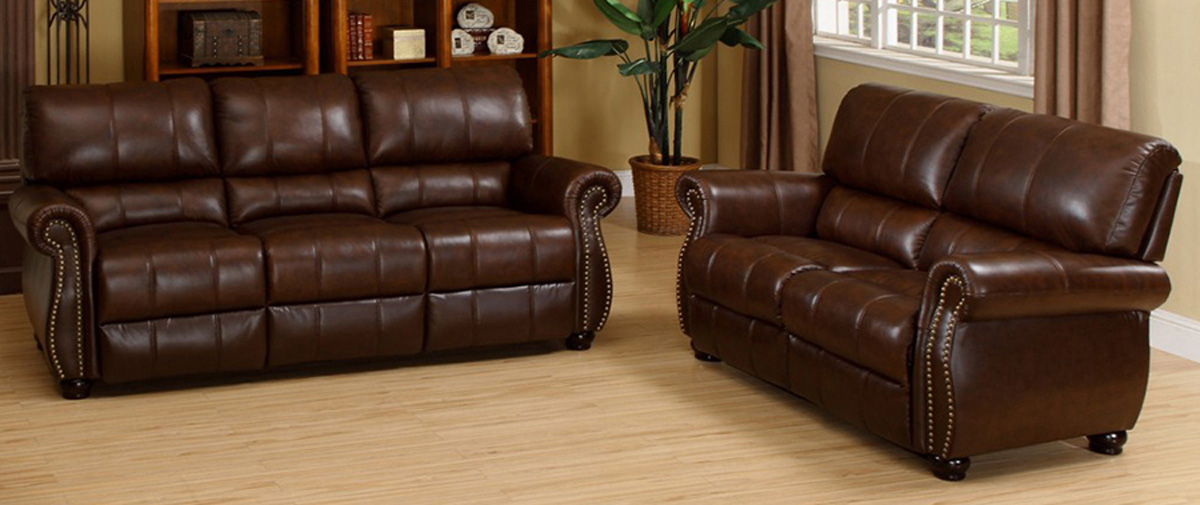Abbyson Living Ashley Italian Leather 2-Piece Sofa and Loveseat Set CH-1955-BRG-3/2