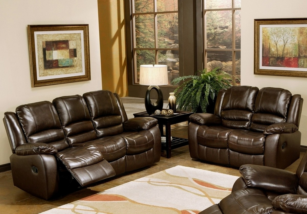 Abbyson Living Brownstone Reclining Leather Sofa And Loveseat Set