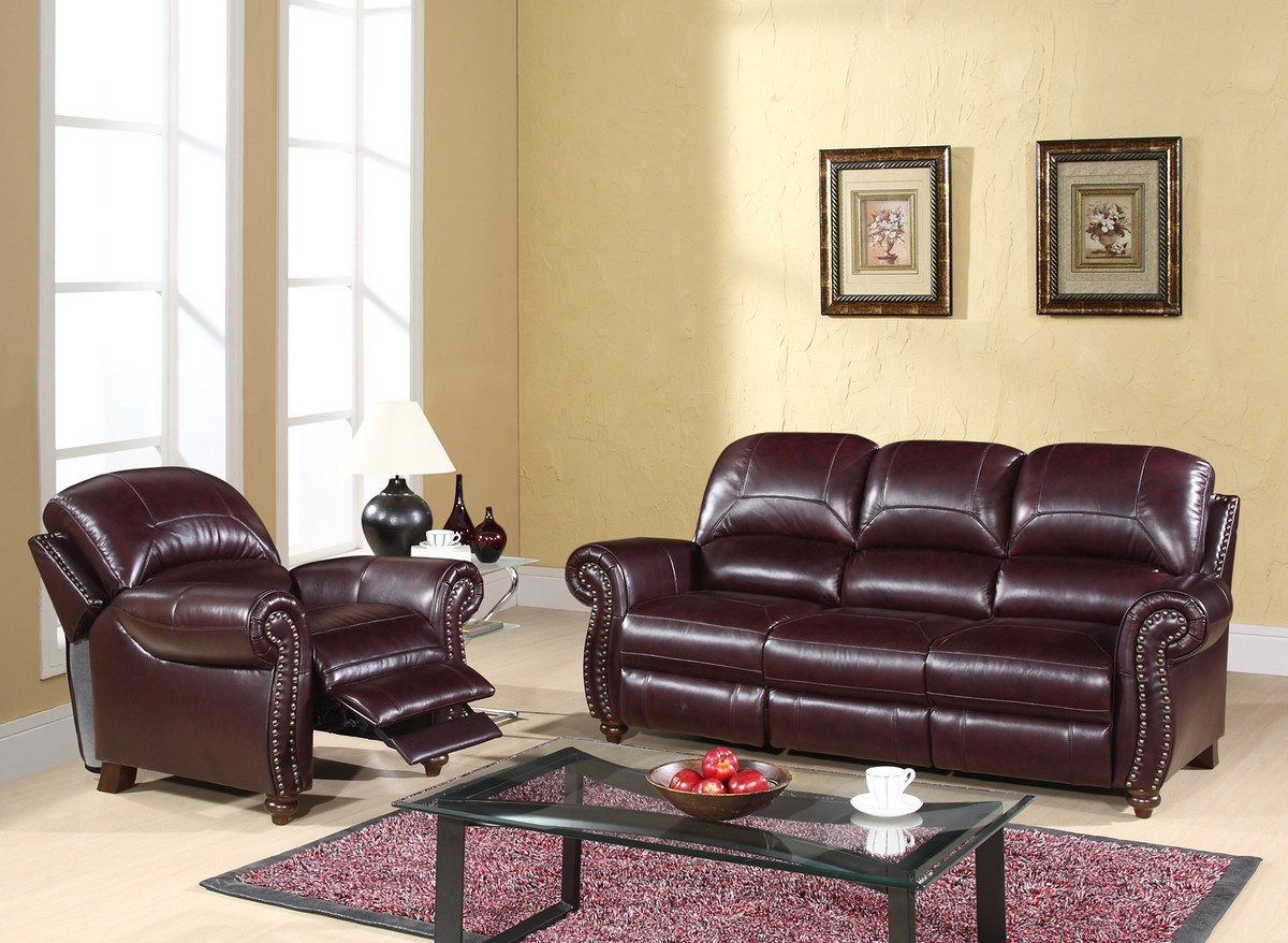 Abbyson Living Madison 2 Pc Leather Pushback Reclining Sofa And Chair Set