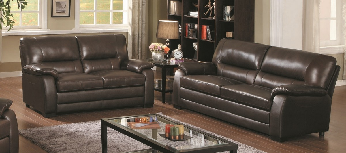 Purchase Abbyson Living CI BRN Wilshire Top Grain Leather Sofa Love Seat Set Product Photo