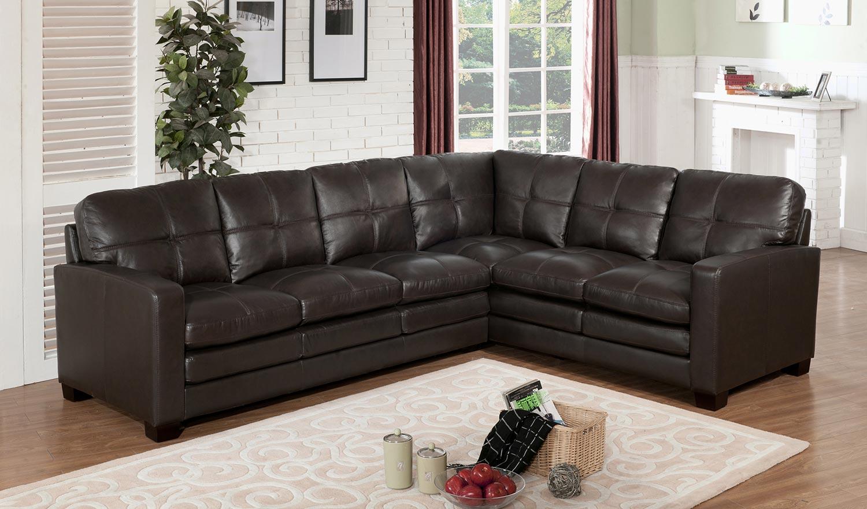 Attirant Abbyson Living Sienna Premium Top Grain Leather Sectional Sofa