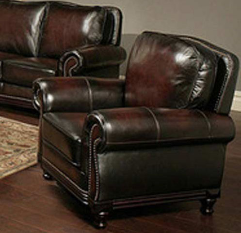 Abbyson Living Palermo Woodtrim Hand Rubbed Leather Armchair
