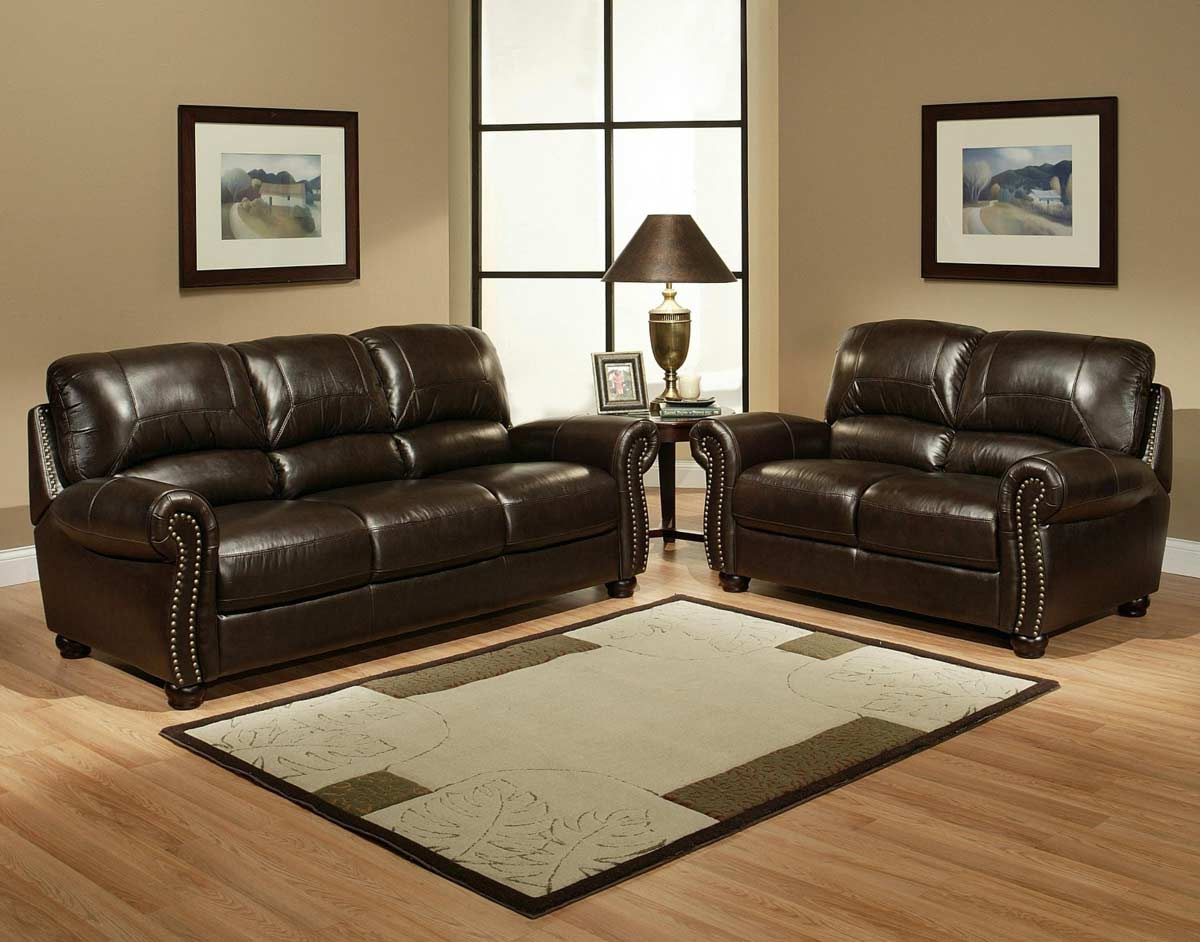 Abbyson Living Monaco Italian Leather Sofa And Loveseat CI .