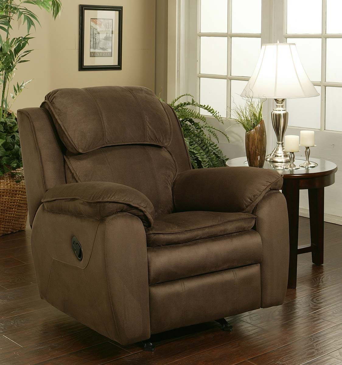 dark brown microsuede rocker recliner abbyson living 39 5 w x 39 q