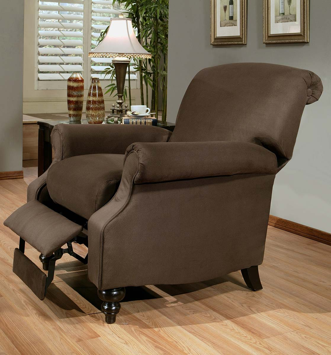 abbyson living vienna dark brown microsuede pushback recliner cr 10328