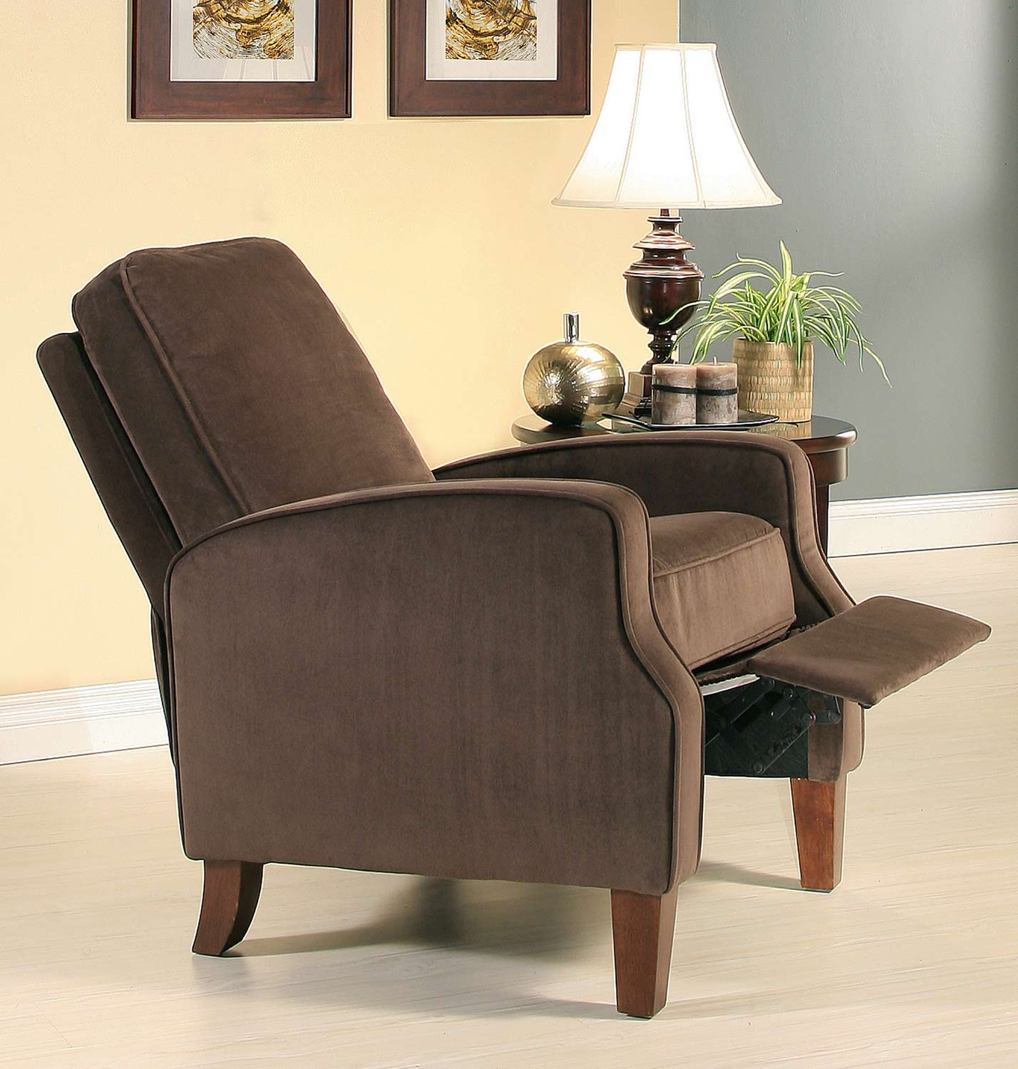 abbyson living carmen dark brown microsuede pushback recliner cr 10345