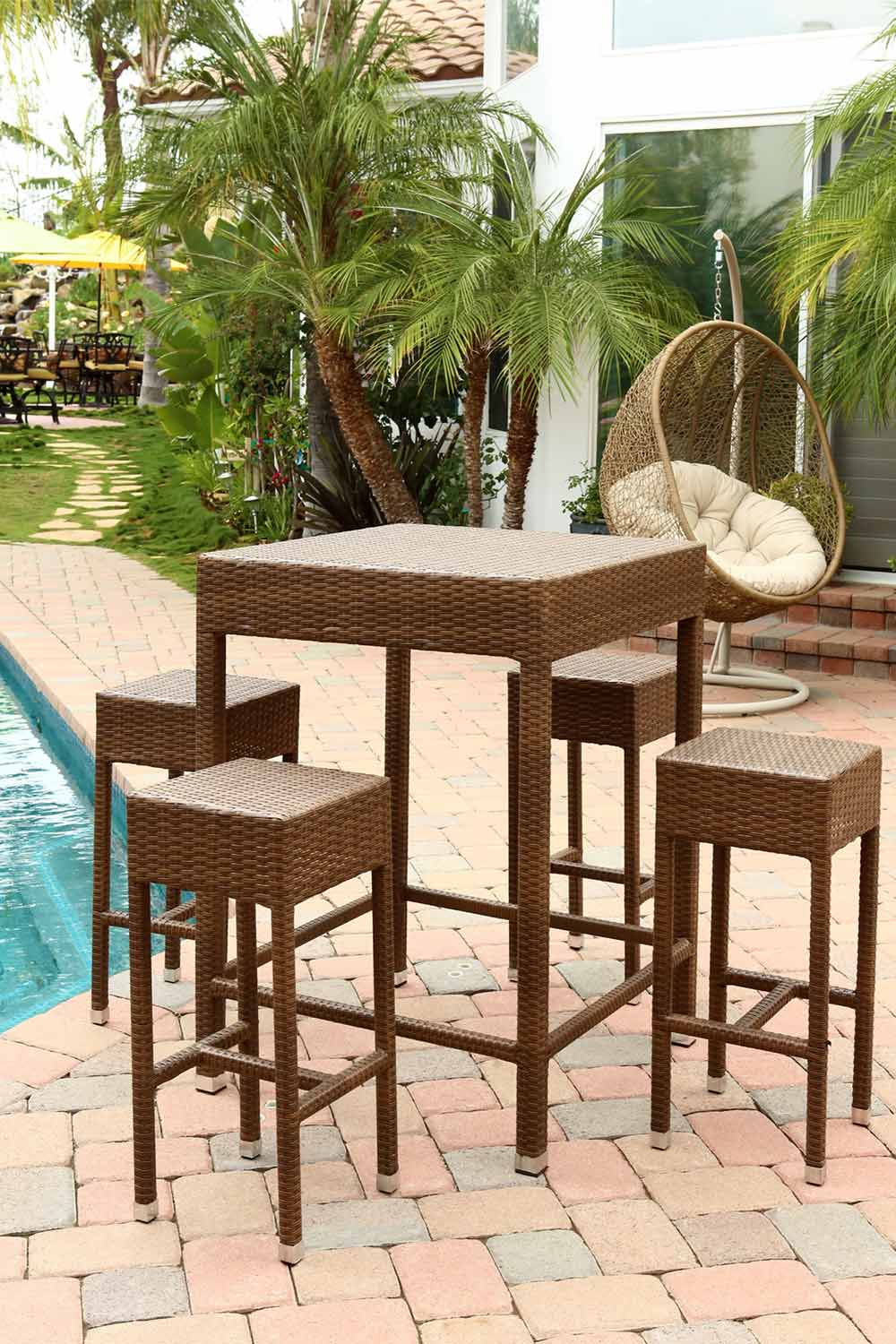 Abbyson Living Palermo Outdoor Wicker 5 Piece Dining Bar Set - Brown