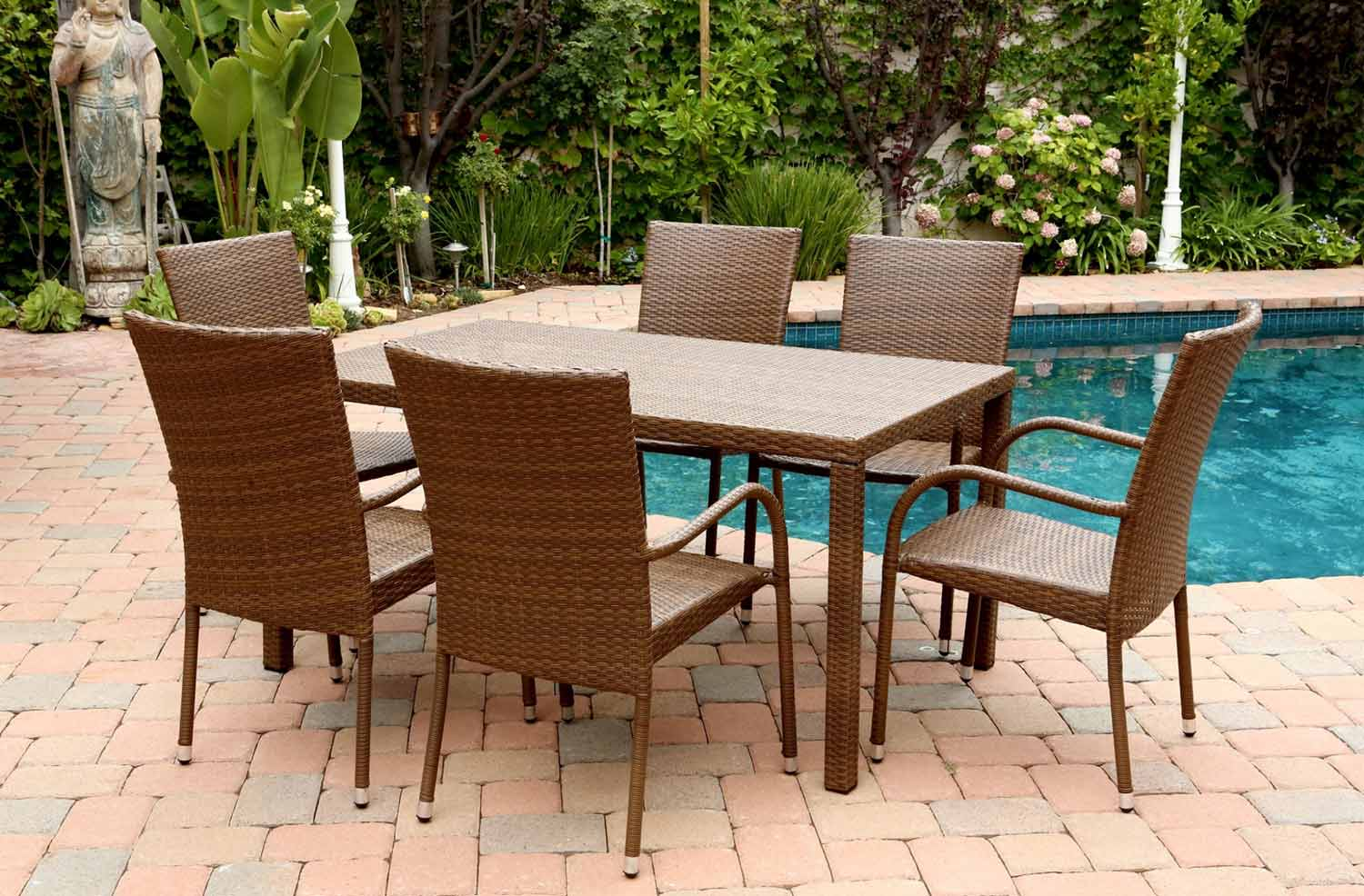 Abbyson Living Palermo Outdoor Wicker 7 Piece Dining Set - Brown