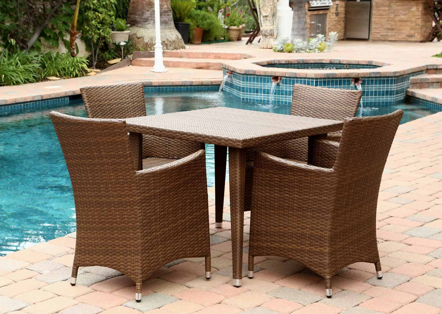 Abbyson Living Palermo Outdoor Wicker Square 5 Piece Dining Set - Brown