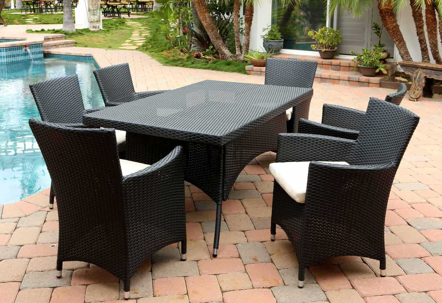 Abbyson Living Pasadena Outdoor Wicker 7 Piece Dining Set - Black