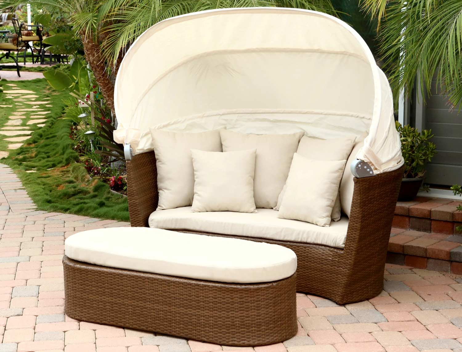 Abbyson Living Palermo Outdoor Wicker Cabana/Canopy Set - Brown  AB-DL-RLS001 at Homelement.com - Abbyson Living Palermo Outdoor Wicker Cabana/Canopy Set - Brown AB
