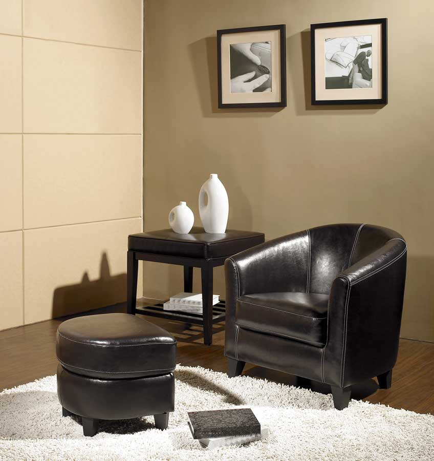 Abbyson Living Lexington Leather Armchair and Ottoman Set