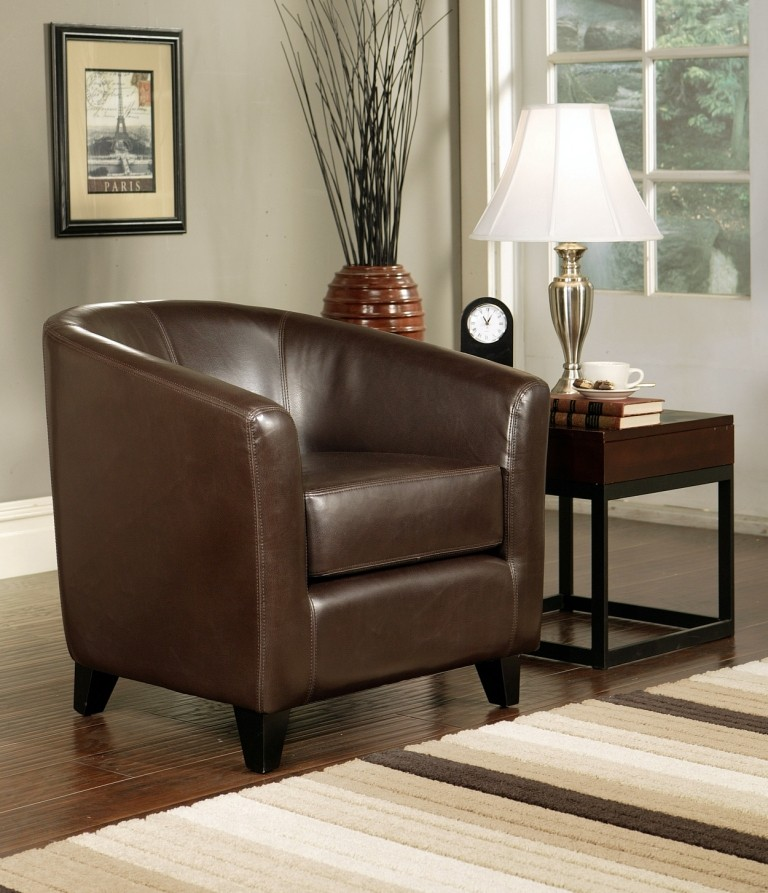 Abbyson Living Montecito Dark Brown Leather Arm Chair