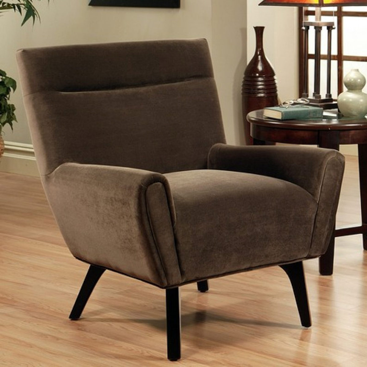 dark brown microsuede armchair abbyson living 34 w x 33 d x 3