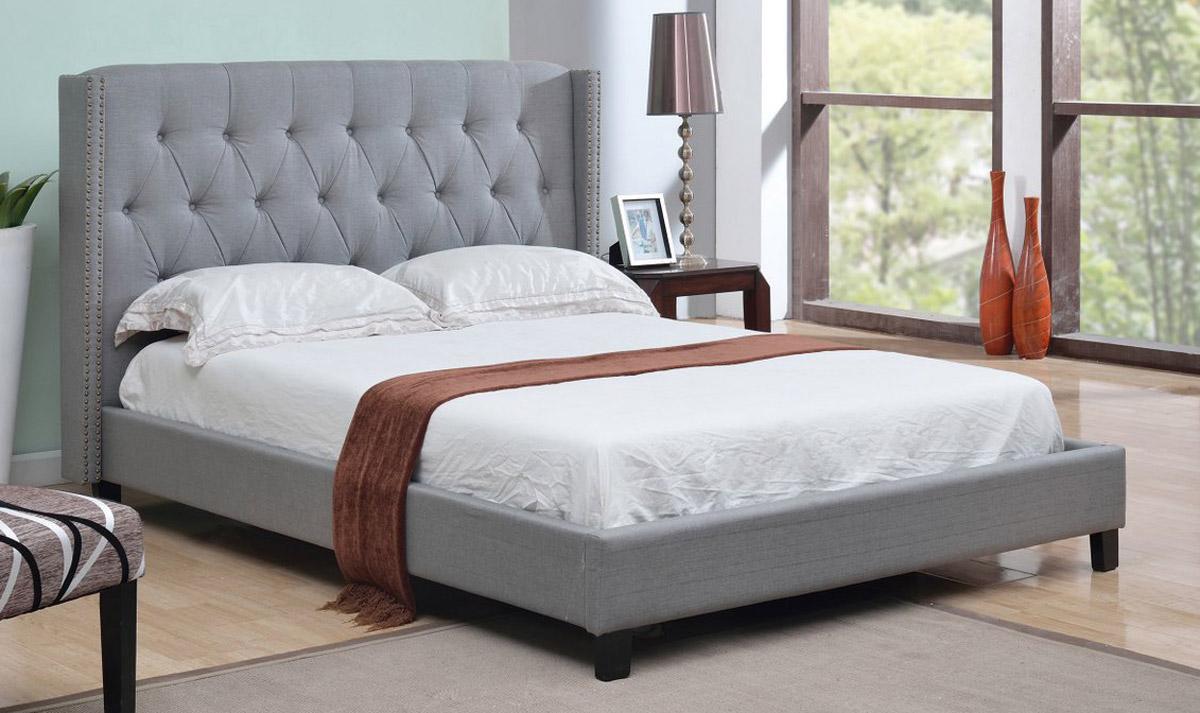 Abbyson Living Madison Linen Nailhead Trim Wingback Bed - Grey