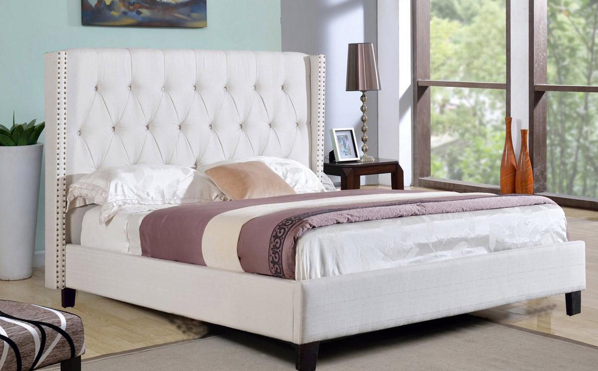 Abbyson Living Madison Linen Nailhead Trim Wingback Bed - Ivory