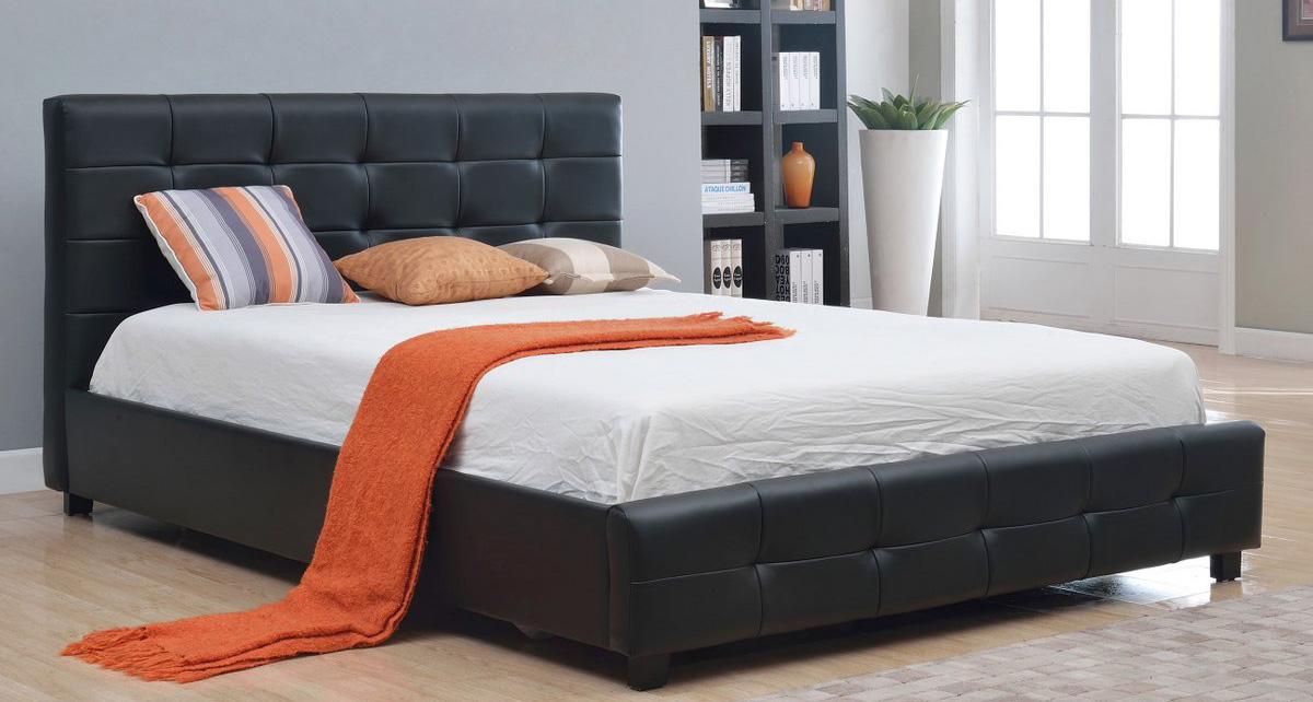 Abbyson Living Montego Tufted Bonded Leather Platform Bed- Black