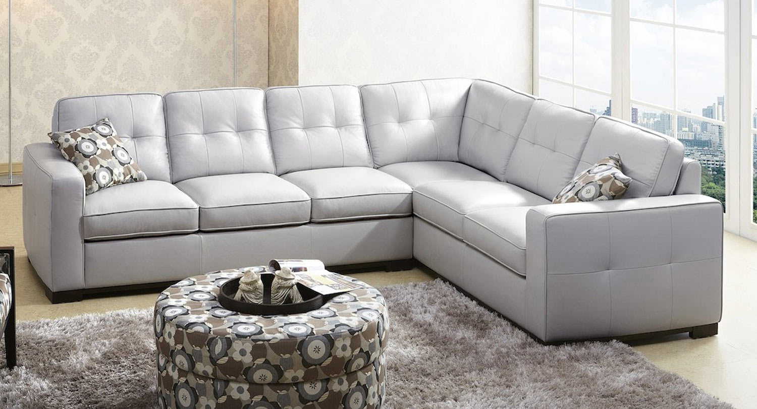 ab ks 1591 gry sienna gray leather sectional sofa abbyson living