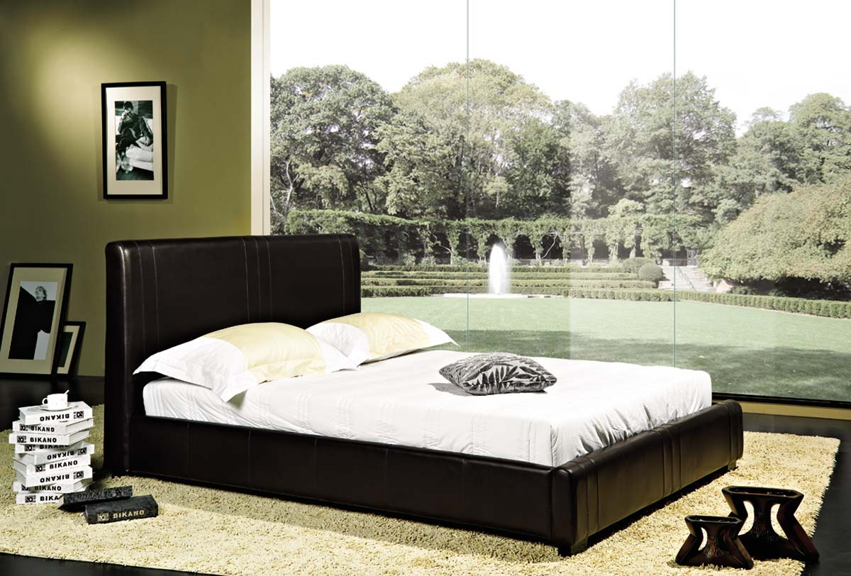Abbyson Living Malibu Dark Brown Bi-cast Leather Bed