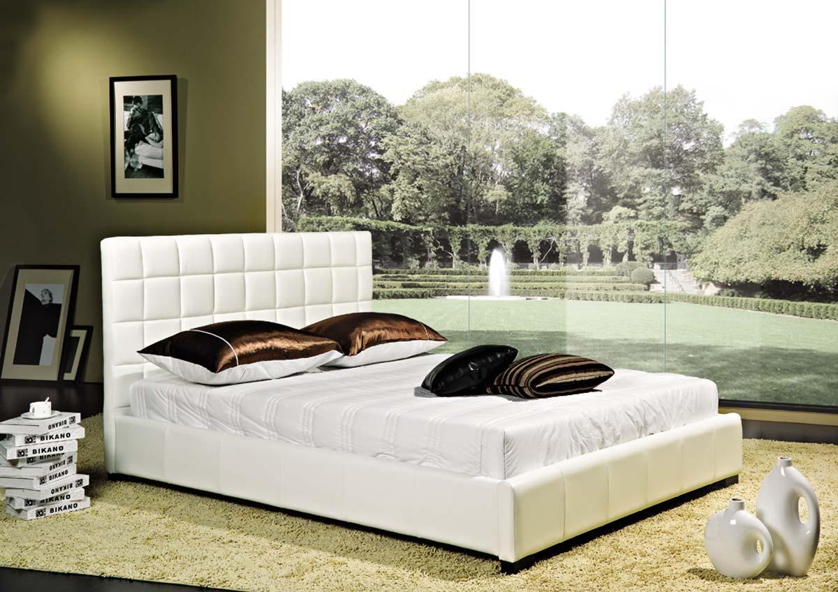 Abbyson Living Torrance White Bi-cast Leather Bed