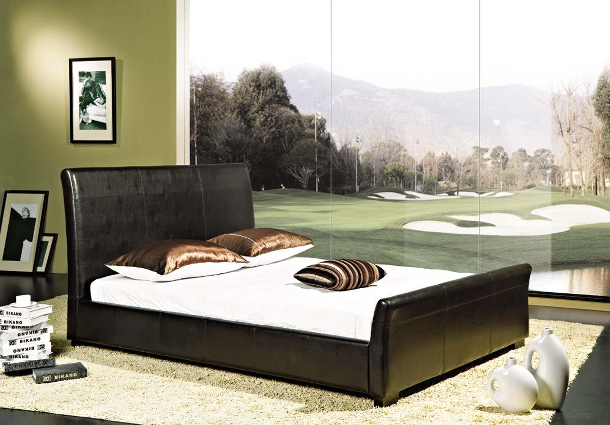 Abbyson Living Monaco Dark Brown Bi-cast Leather Bed