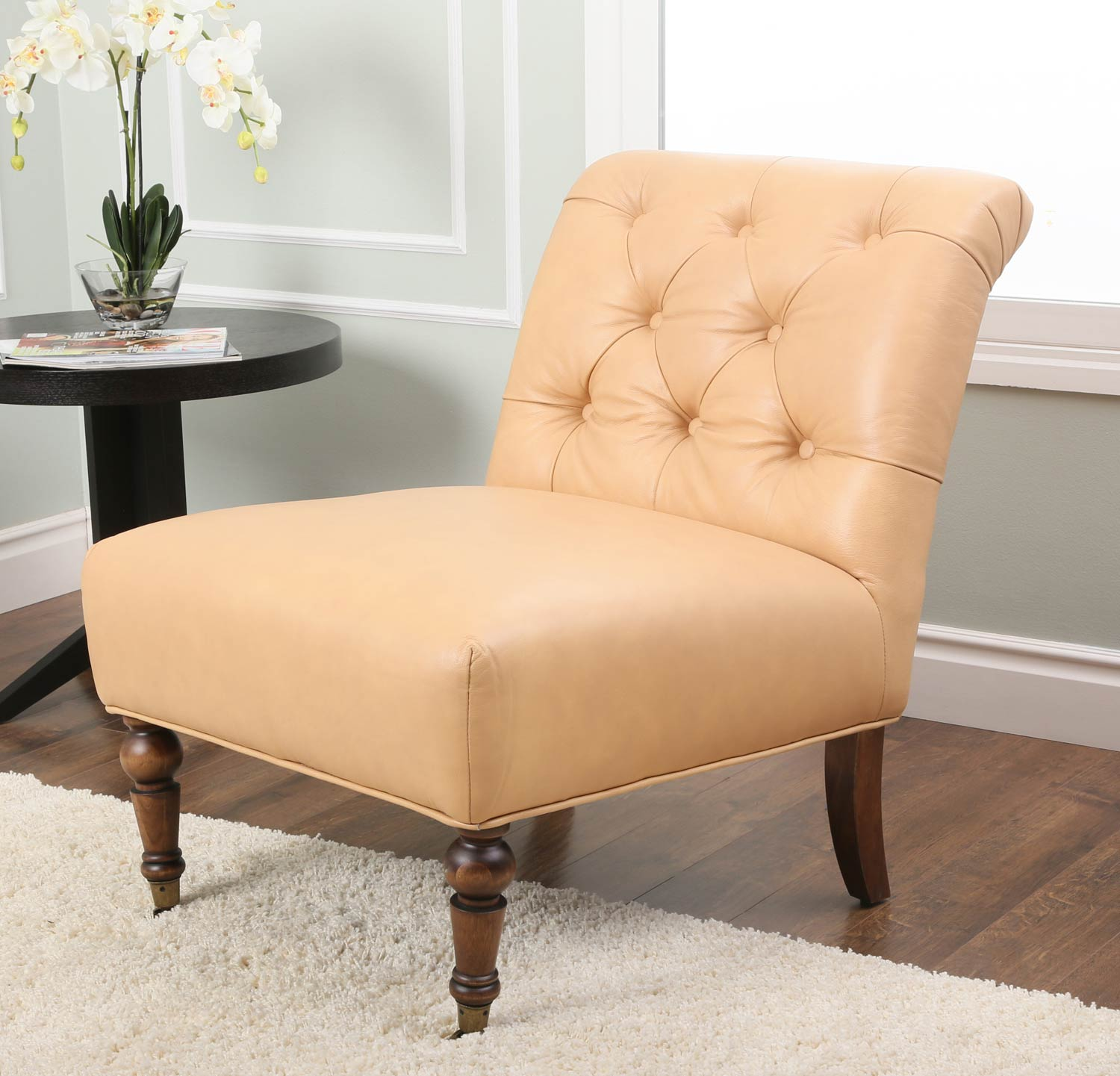 Abbyson Living Monica Pedersen Tufted Leather Chair - Camel
