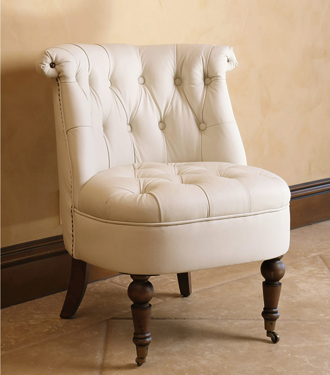 Abbyson Living Monica Pedersen Leather Barrel Chair - Ivory