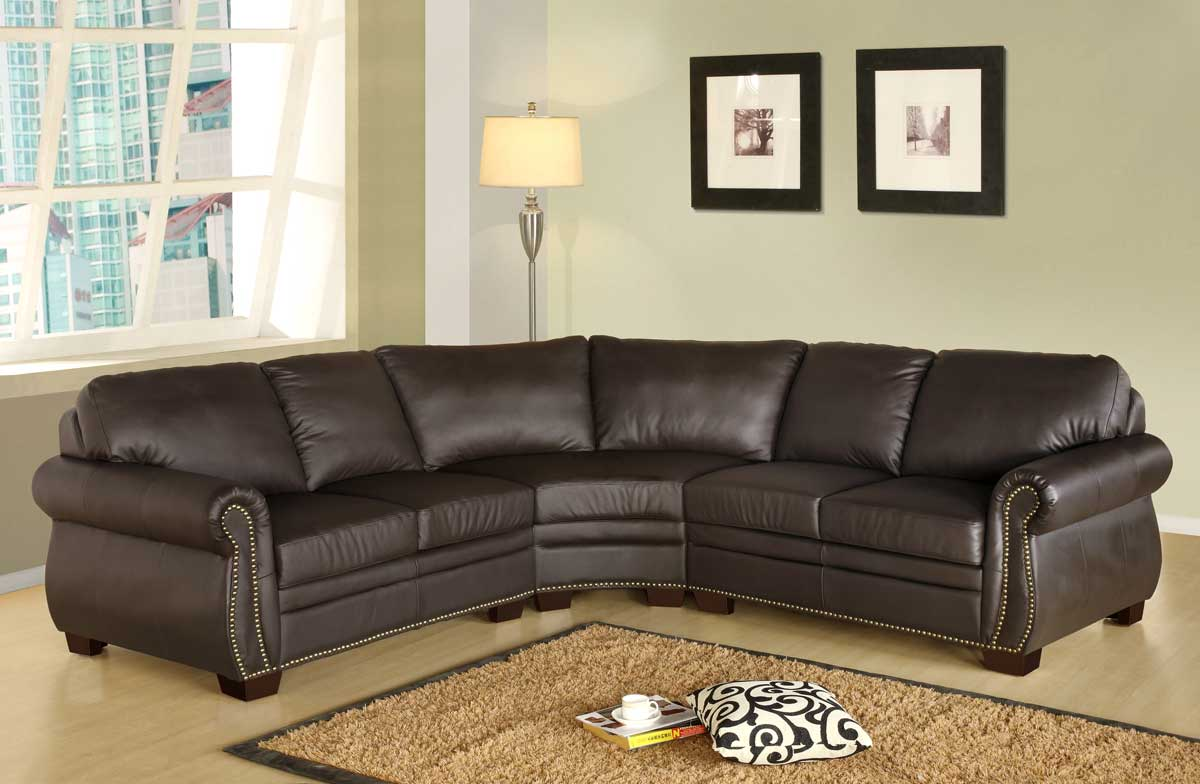 Abbyson Living CI D200 BRN SEC Beverly Premium Italian Leather Sectional Sofa
