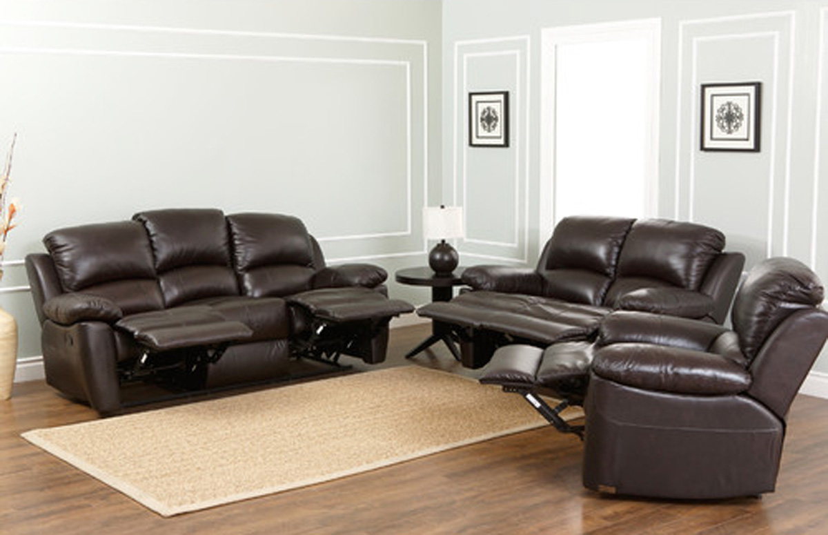 Abbyson Living Westwood 3 Piece Top Grain Leather Reclining Sofa Set Brown