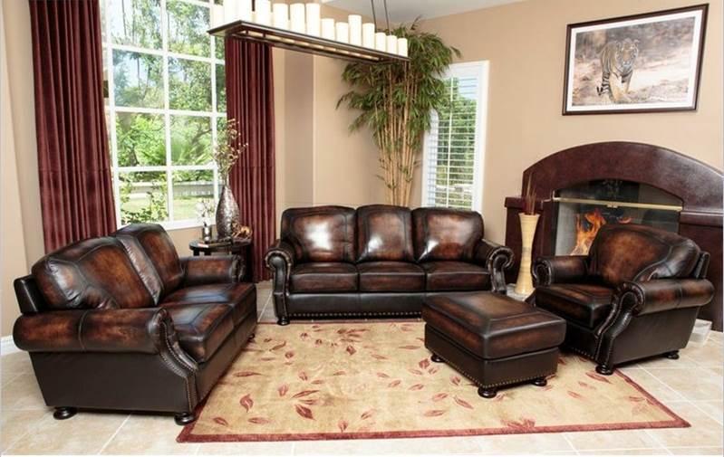 Abbyson Living Ellis 4 Piece Sofa Set AB-SK-2308-BRN-SOFA-SET at ...