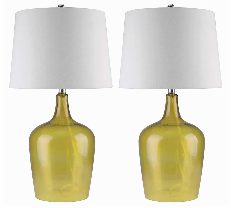 Abbyson Living Delmore 2 PC Glass Table Lamp Set - Amber