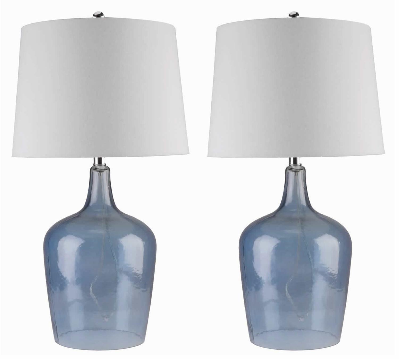 Abbyson Living Delmore 2 PC Glass Table Lamp Set - Blue