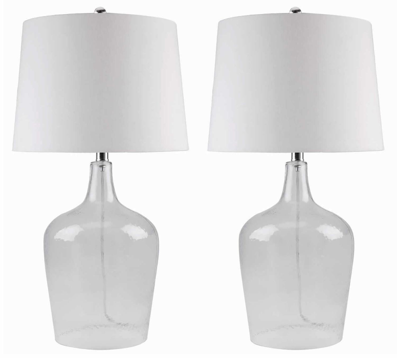Abbyson Living Delmore 2 PC Glass Table Lamp Set - Clear