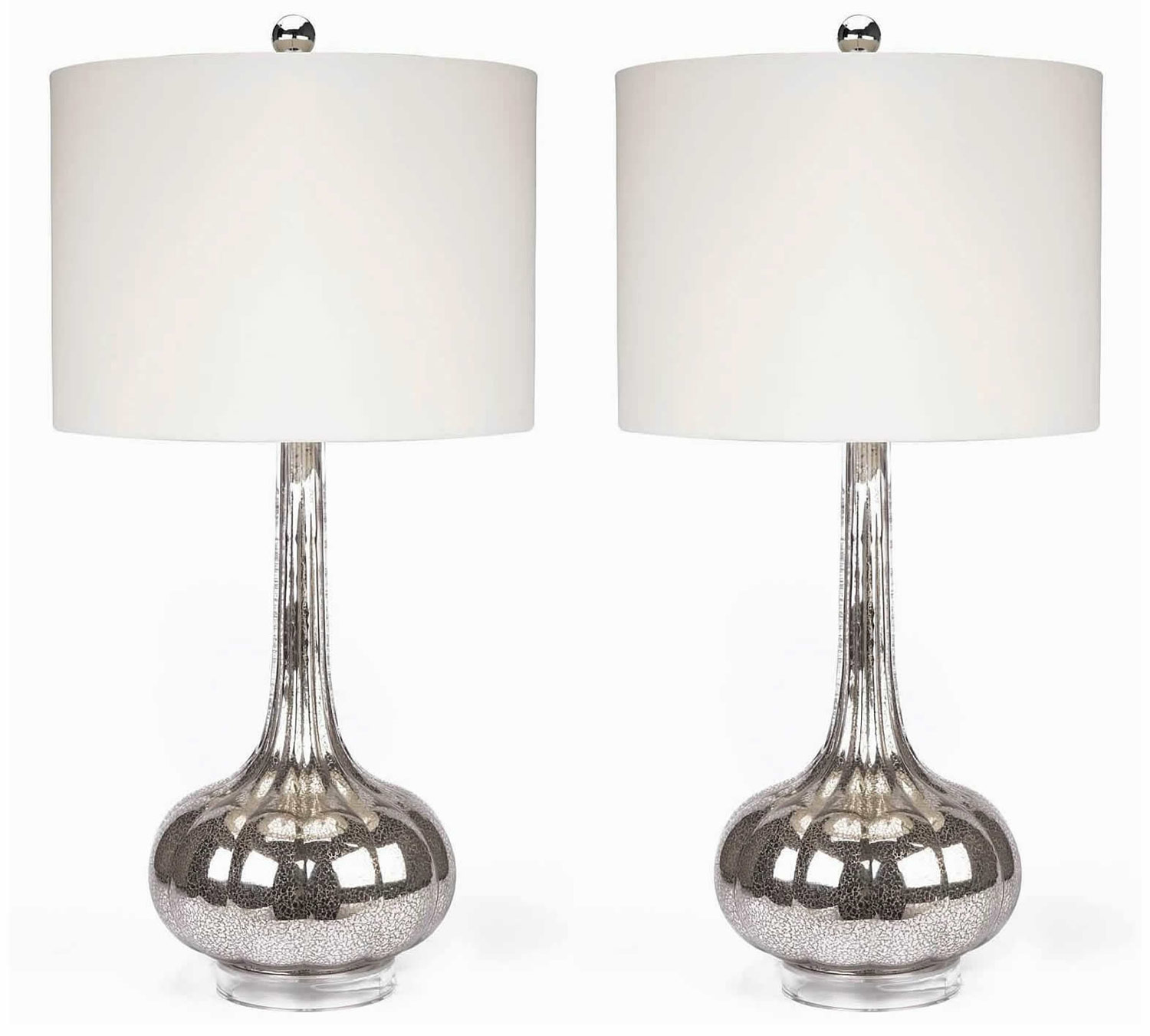 Abbyson Living Michelle 2 PC Glass Table Lamp Set - Silver
