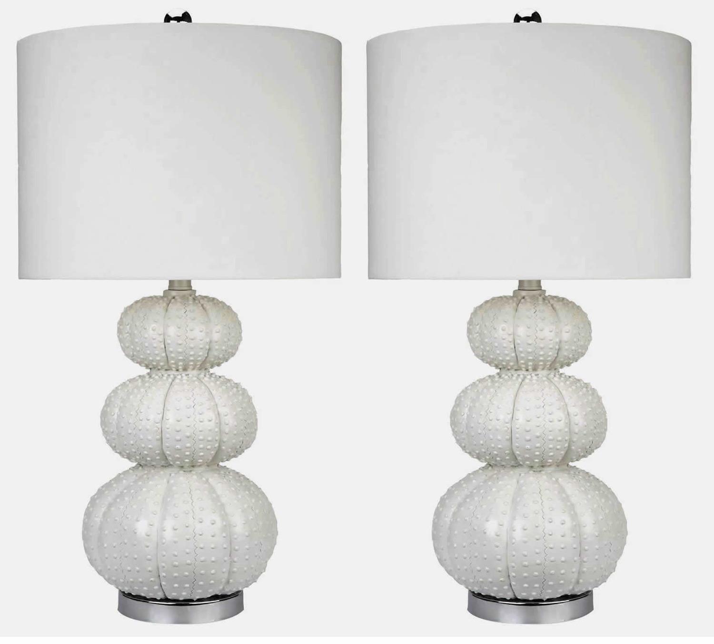 Abbyson Living Morin Stacked Sea Urchin 2 PC Lamp Set - White