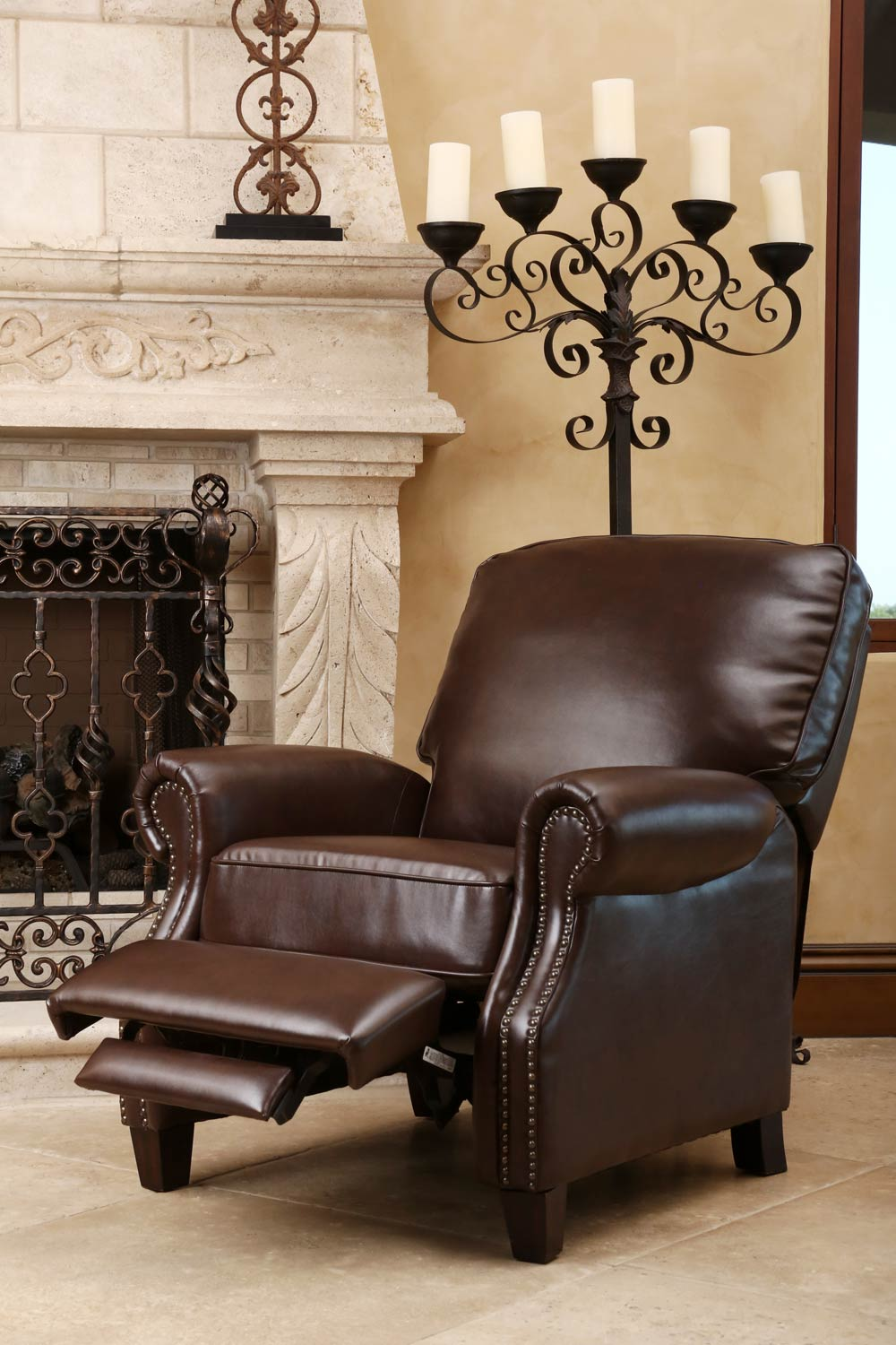 Abbyson Living Cliff Leather Push Back Recliner - Brown