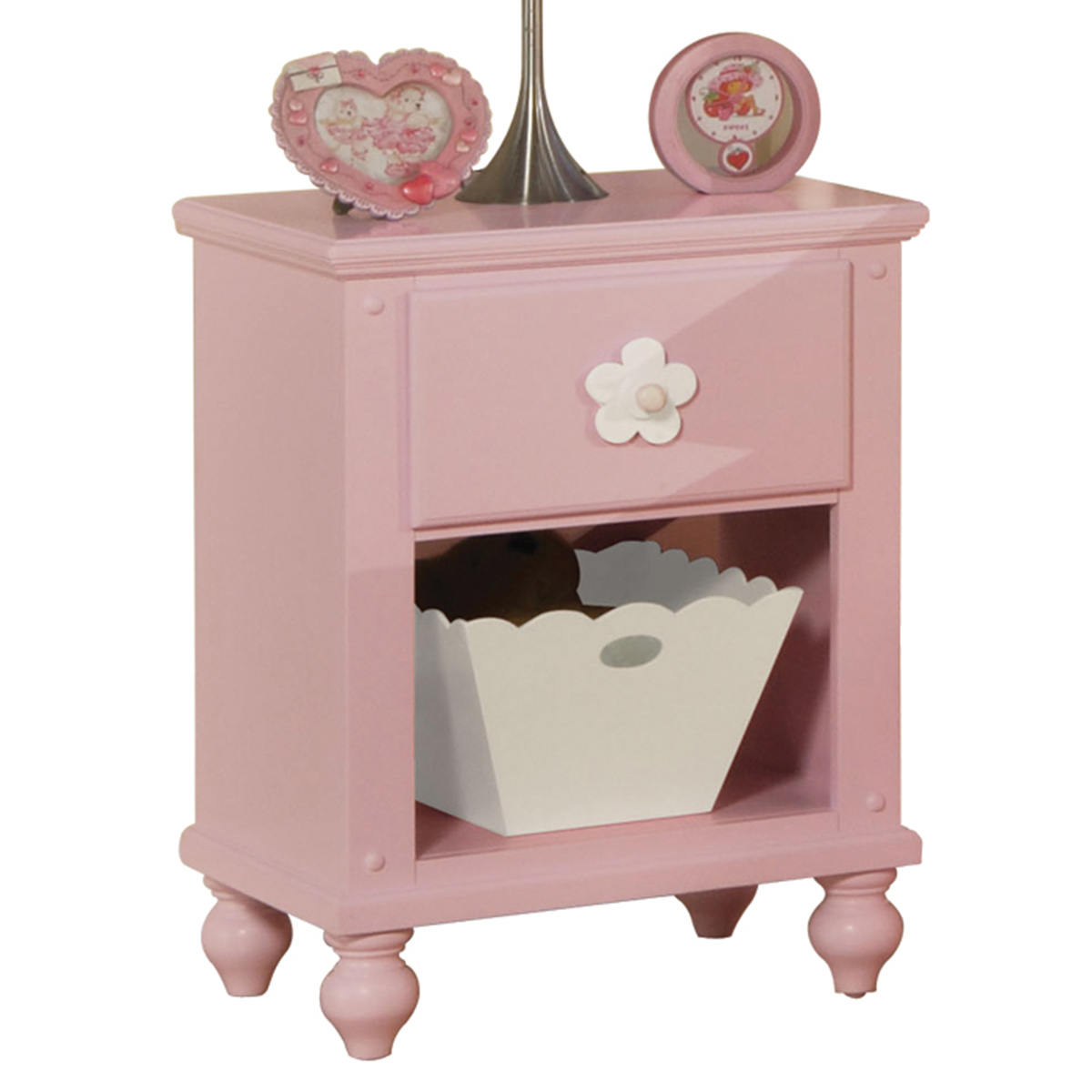 Acme Floresville Nightstand with basket - Pink (White Flower)