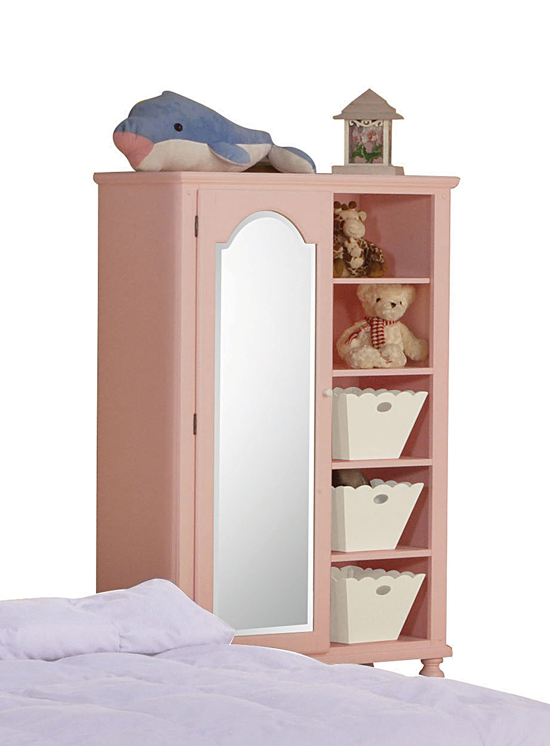 Acme Floresville Chest with Door and Baskets - Pink (White Flower)