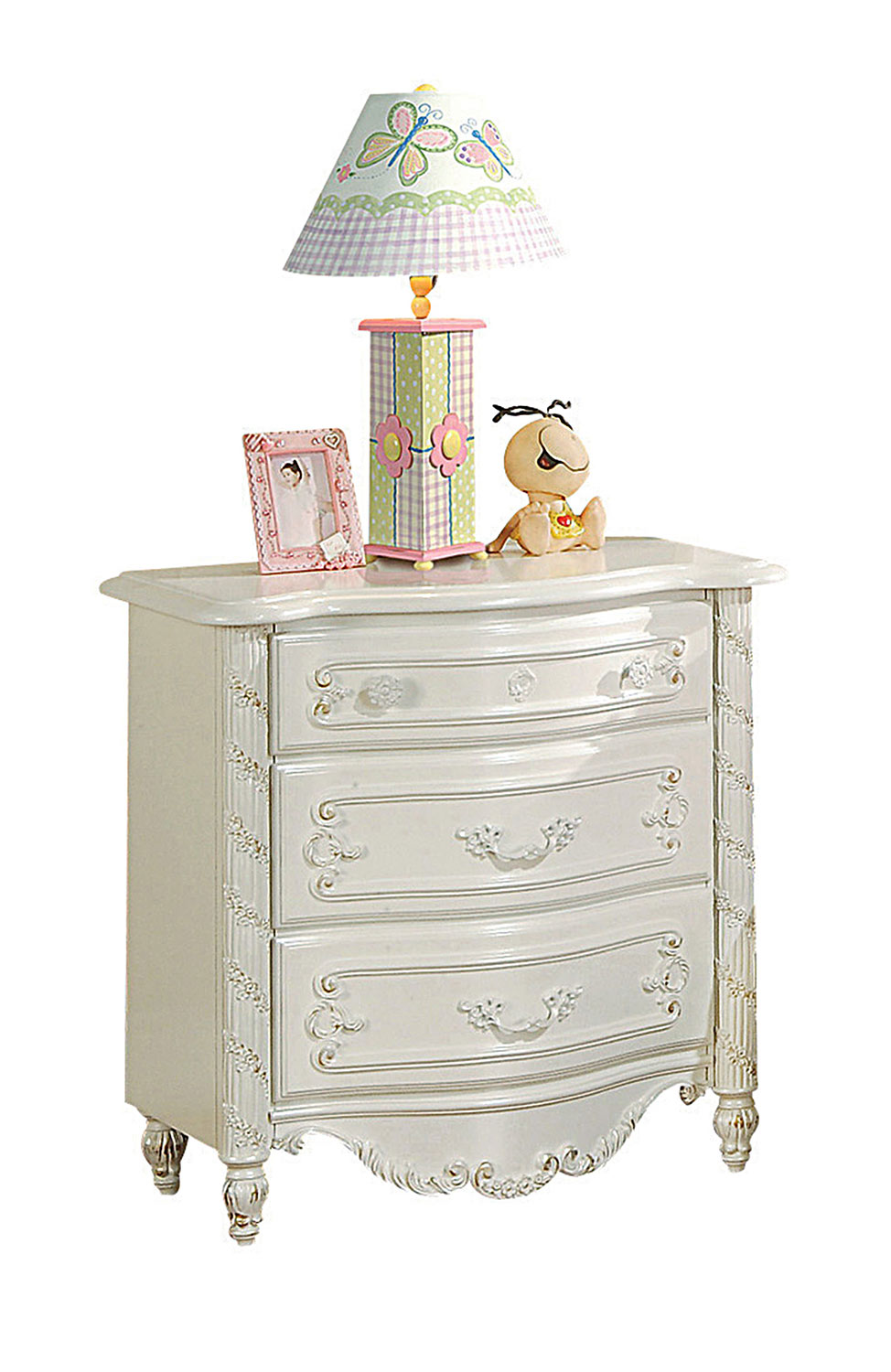Acme Pearl Nightstand - Pearl White/Gold Brush Accent