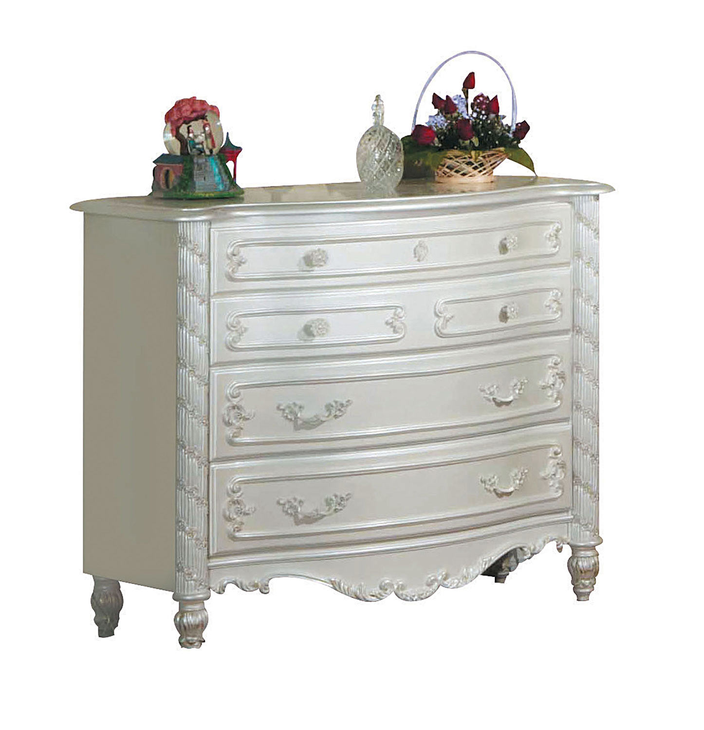 Acme Pearl Dresser - Pearl White/Gold Brush Accent