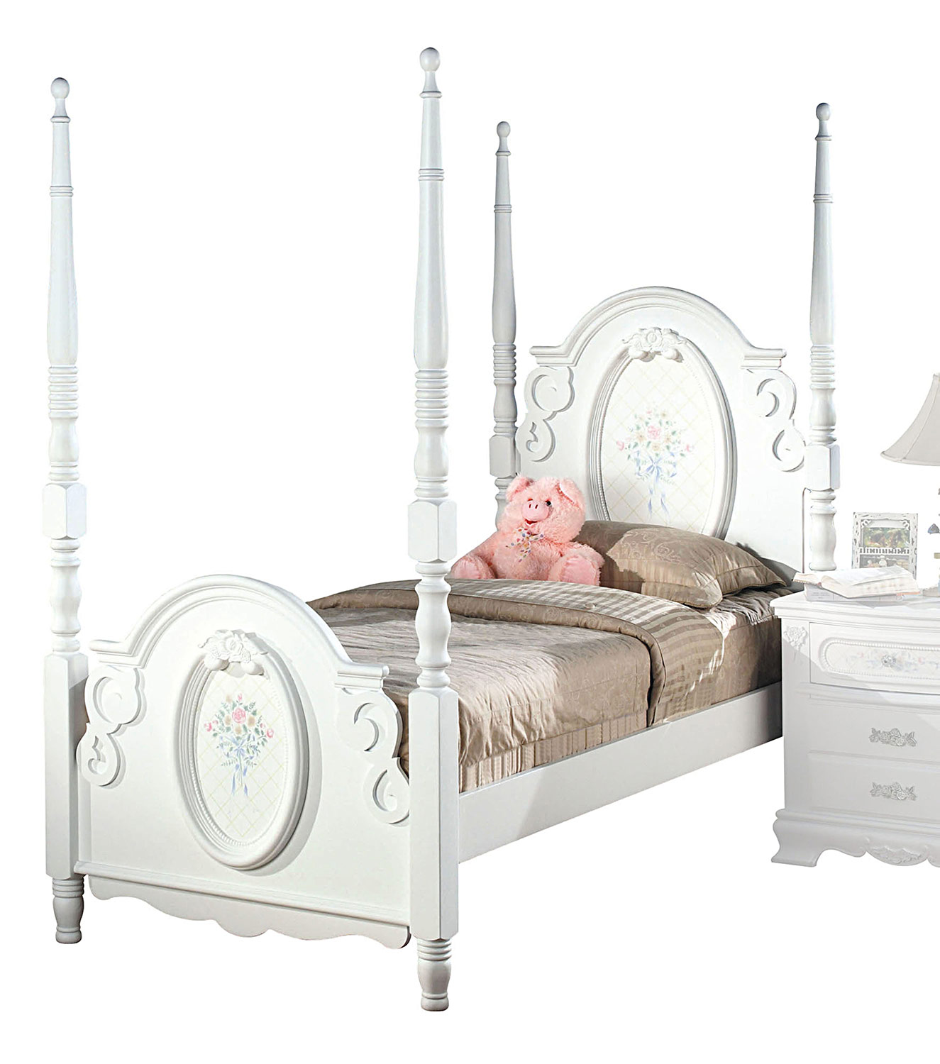 Acme Flora Poster Bed - White