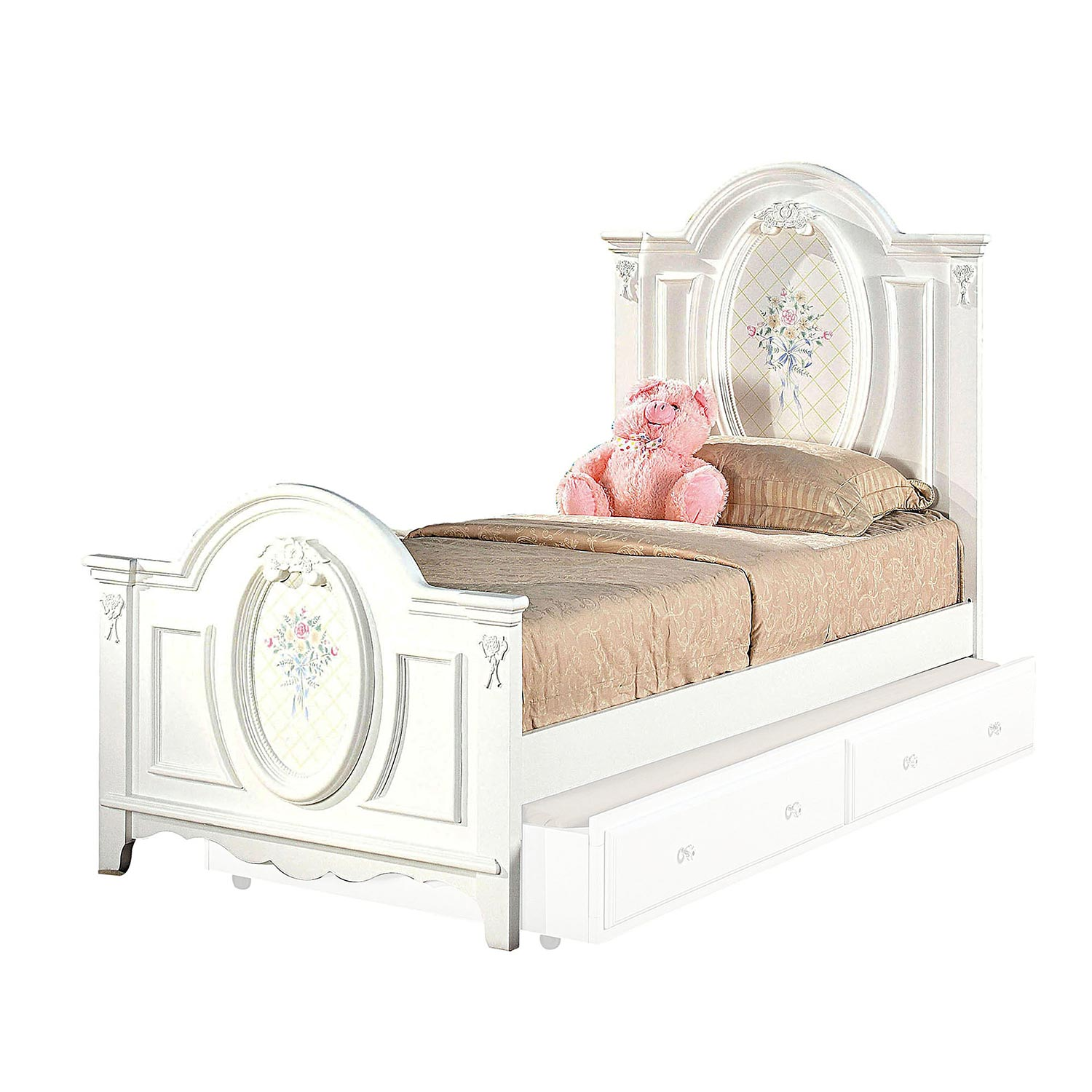 Acme Flora Panel Bed - White