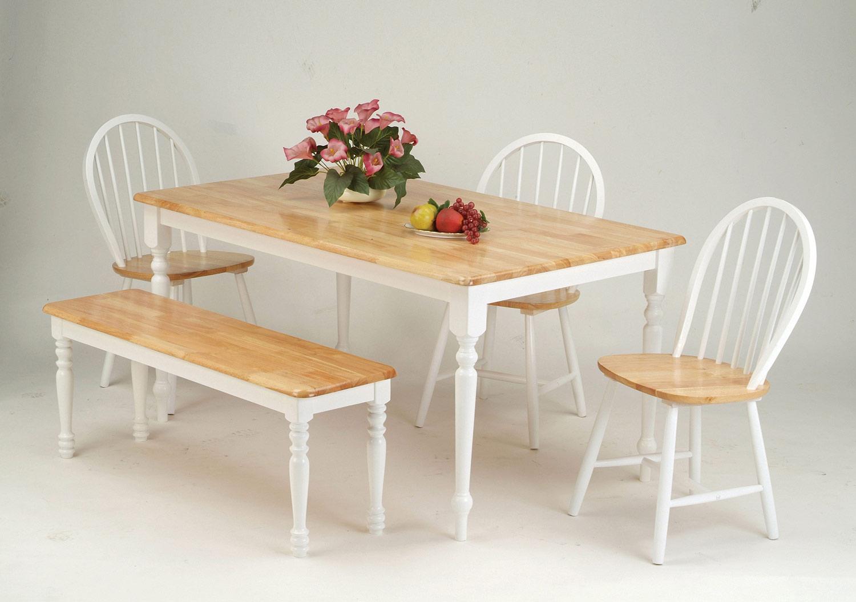 Acme Farmhouse Dining Set - Natural/White