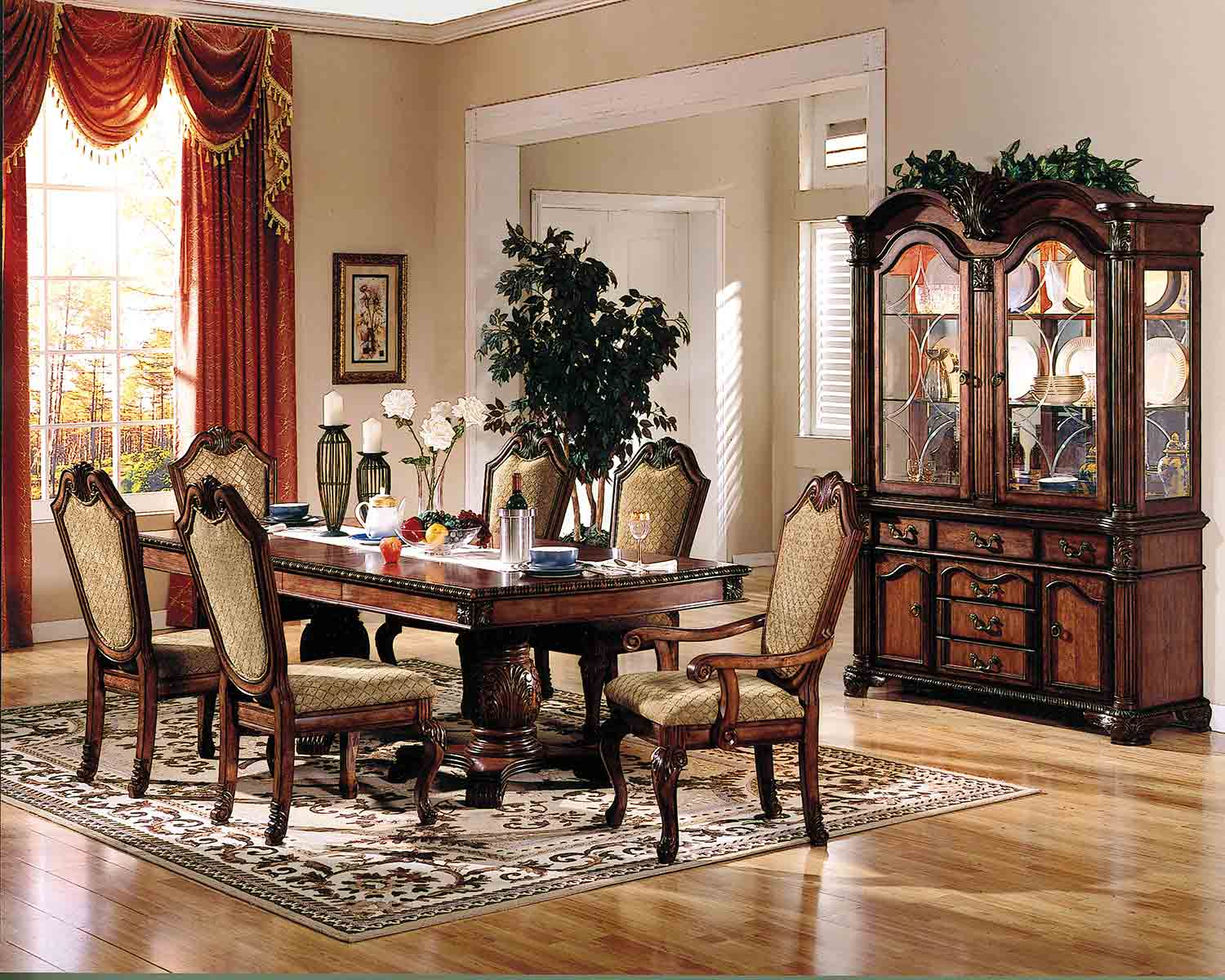Acme Chateau De Ville Dining Set with Double Pedestal - Cherry