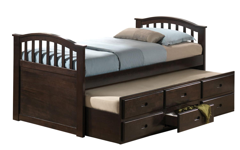Acme San Marino Captain Bed with Trundle - Dark Walnut