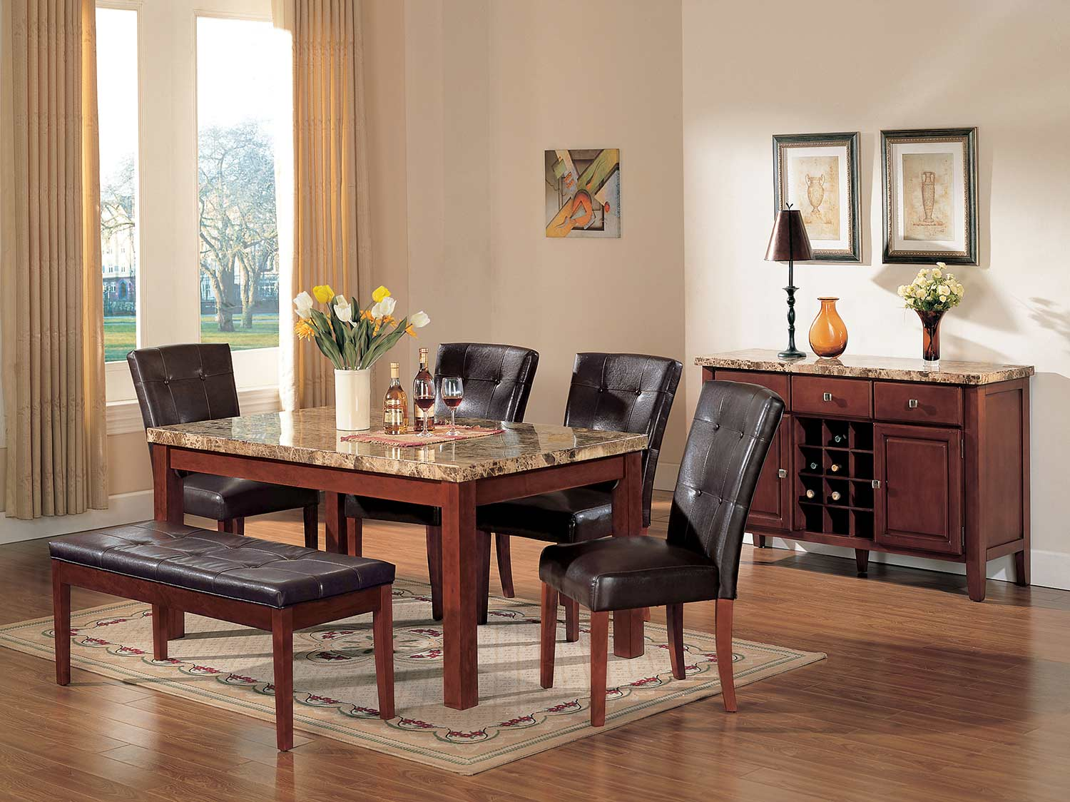 Acme Bologna Dining Set - Brown Marble/Brown Cherry